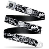 DC Round Logo Black/Silver Seatbelt Belt - JUSTICE LEAGUE Superheroes Retro Pop White/Black Webbing