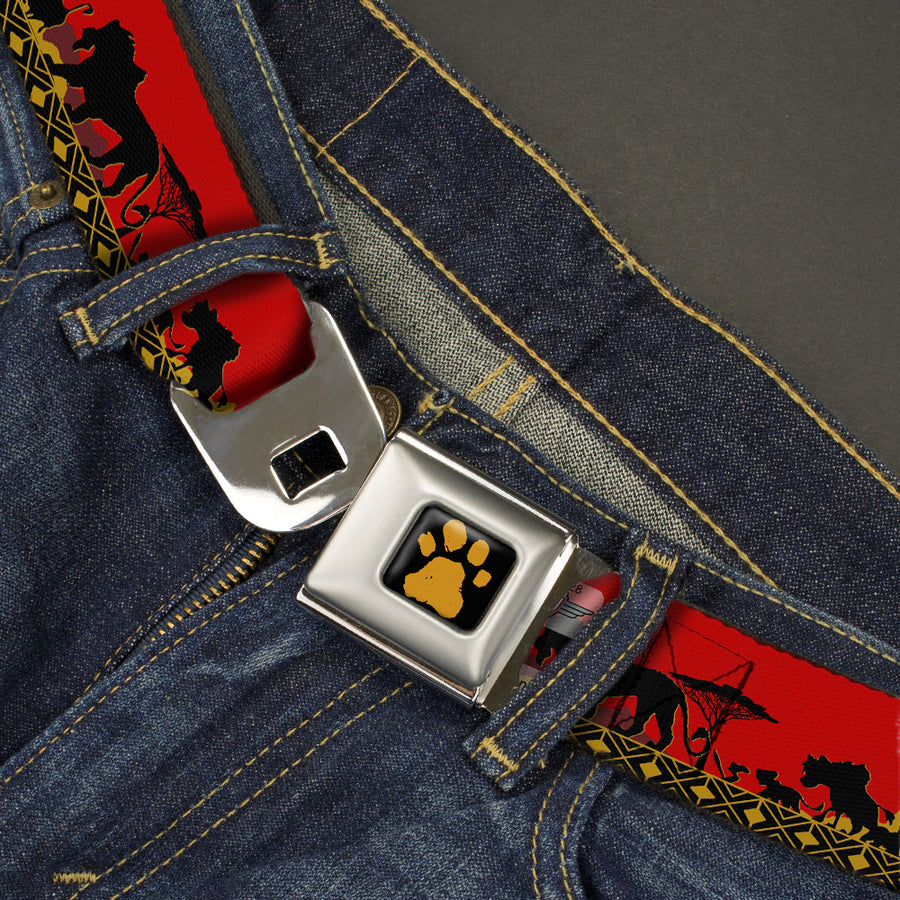 Lion King Paw Full Color Black Gold Seatbelt Belt - Mufasa & Simba JUST CAN'T WAIT TO BE KING/Family Silhouette Webbing