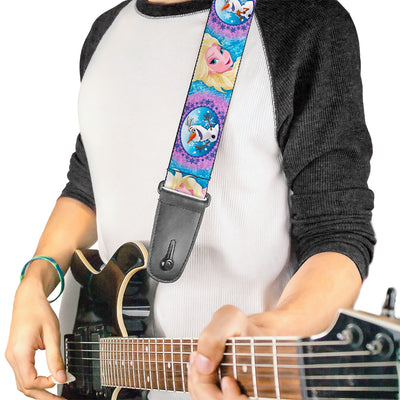 Guitar Strap - Frozen Elsa Poses Olaf Pose Cameos Blues Purples
