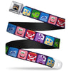 INSIDE OUT Rainbow Full Color Black White Multi Color Seatbelt Belt - Inside Out 6-Character Esxpression Blocks Purple/Multi Color Webbing