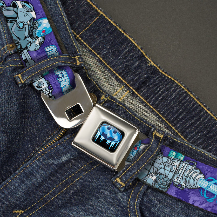 Frozen Batman Shield Full Color Black Blues Seatbelt Belt - MR. FREEZE Poses/Frozen Batman Shield Purples/Blues Webbing