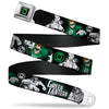 Green Lantern Logo CLOSE-UP Black Green Seatbelt Belt - GREEN LANTERN Action Poses Black/White/Green Webbing
