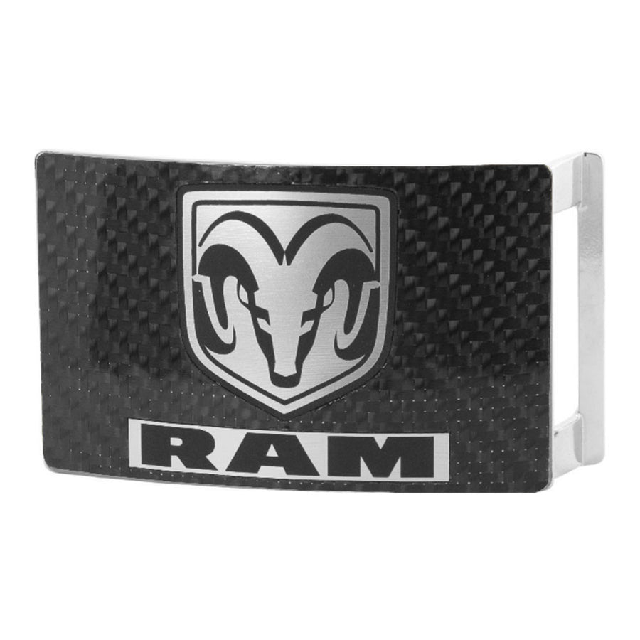 Ram Head Text Rock Star Buckle - Marquetry Carbon Fiber Brushed Metal