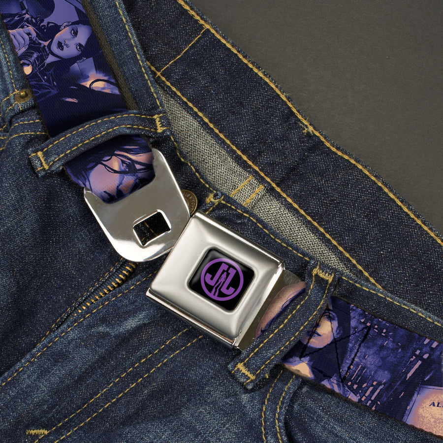 Jessica Jones JL Icon Full Color Black/Purple Seatbelt Belt - JESSICA JONES 4-Poses/ALIAS INVESTIGATIONS Business Card Pinks/Purples Webbing