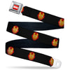 MARVEL Logo Full Color Red/White Seatbelt Belt - Iron Man Face Icon2 Black/Red/Golds Webbing