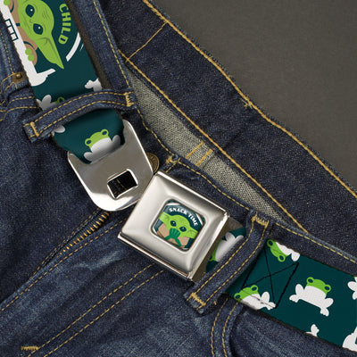 Star Wars The Child Frog SNACK TIME Full Color Greens Seatbelt Belt - Star Wars THE CHILD Pod Carriage Pose/Frogs Scattered Greens/White Webbing