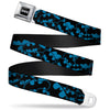 Batman Black Silver Seatbelt Belt - Bat Signals Stacked Blue/Black Webbing