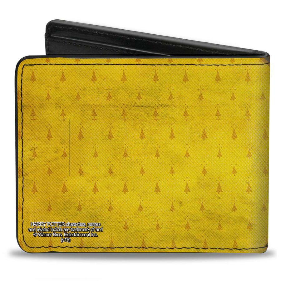Bi-Fold Wallet - HUFFLEPUFF Crest Stripe4 Weathered Gold Brown