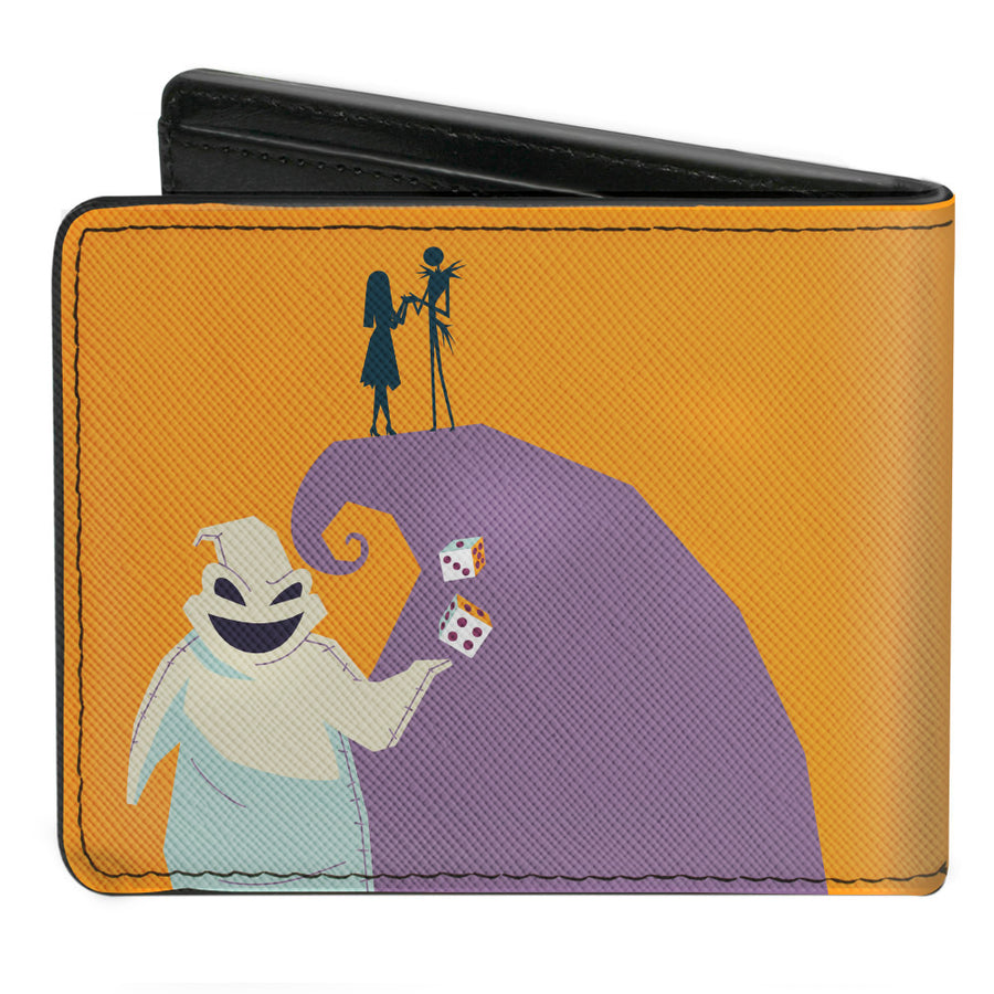 Bi-Fold Wallet - Nightmare Before Christmas Stylized Jack Cemetery Pose + Jack and Sally Spiral Hill Scene Ooogie Boogie Dice Pose Orange