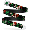 POISON IVY Script Leaves Full Color Greens Black Seatbelt Belt - DC Originals Poison Ivy 3-Poses/Ivy Black/Greens Webbing