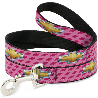 Dog Leash - Chevy Gold Bowtie w/Logo PINK