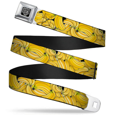BD Wings Logo CLOSE-UP Full Color Black Silver Seatbelt Belt - Vivid Banana Bunches Stacked Webbing