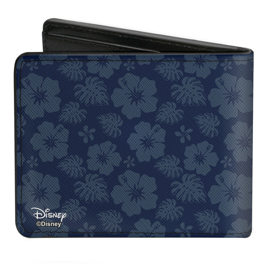 Bi-Fold Wallet - Stitch Winking Pose Tropical Flora Blues