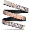 Chrome Buckle Web Belt - PORKY PIG w/Poses Pink Webbing