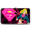 Hinged Wallet - Neon Super Shield Supergirl Pose Rings Black Pinks Yellow