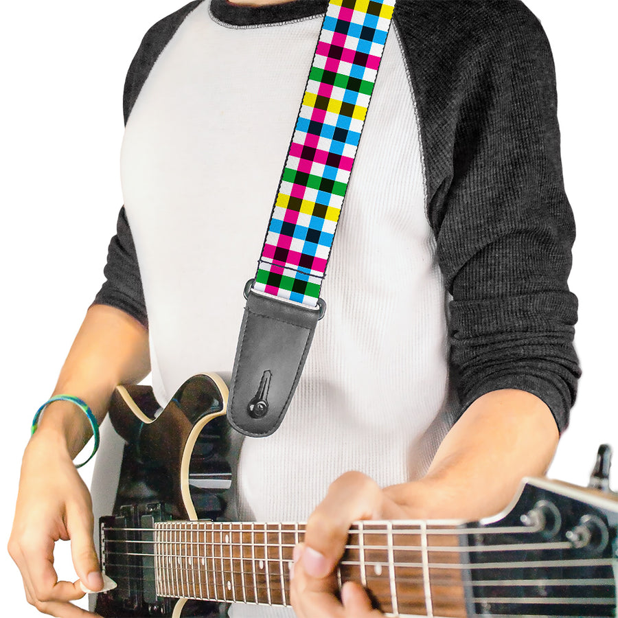 Guitar Strap - Buffalo Plaid White Multi Color
