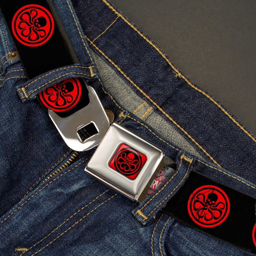 MARVEL AVENGERS HYDRA Logo Full Color Red Black Seatbelt Belt - HYDRA Logo Black/Red Webbing