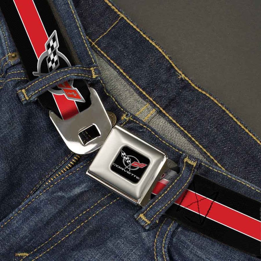 CORVETTE C5 Logo Full Color Black Gray White Red Seatbelt Belt - CORVETTE C5 Logo/Stripe Black/White/Red/Gray Webbing