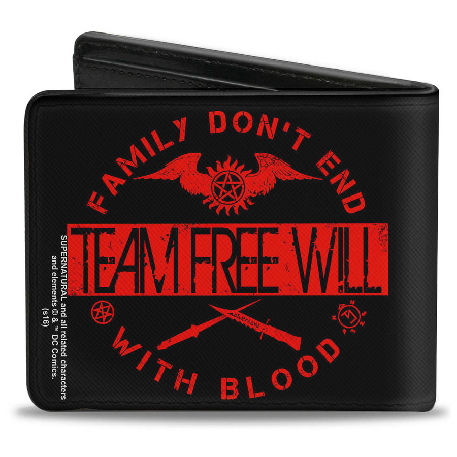 Bi-Fold Wallet - Supernatural TEAM FREE WILL-FAMILY DON'T END WITH BLOOD Black Red