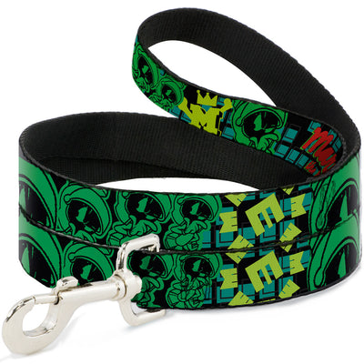 Dog Leash - MARVIN THE MARTIAN w/Poses Black/Turquoise