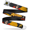 Batman Full Color Black Yellow Seatbelt Belt - ROBIN Red/Black Poses Gray Webbing