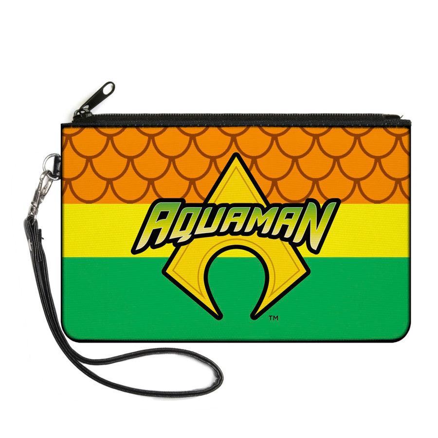 Canvas Zipper Wallet - LARGE - AQUAMAN Logo3 Scales Stripe Orange Yellow Green