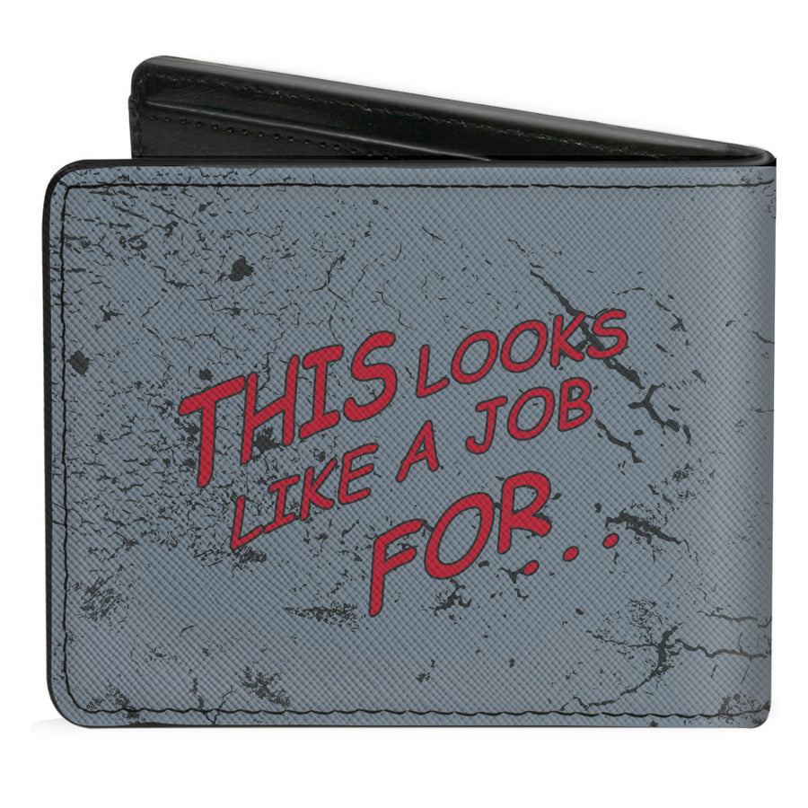 Bi-Fold Wallet - Superman THE ORIGINAL MAN OF STEEL Badge + Quote Weathered Grays Red