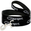 Dog Leash - CHARGER Script Emblem Corner Black/Silver Fade/White