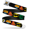 Justice League Shield Full Color Black Blue Red Yellow Seatbelt Belt - Justice League Superhero Logos CLOSE-UP Black Webbing