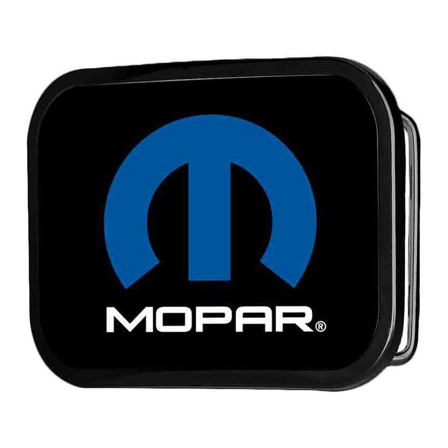 MOPAR Logo Framed FCG Black Blue White - Chrome Rock Star Buckle