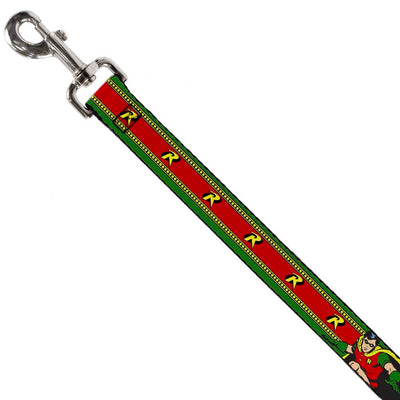 "Dog Leash - Robin Action Pose/""R"" Logo Stripe Green/Yellow/Red/Black"