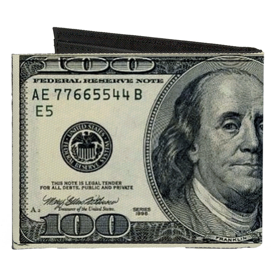 Canvas Bi-Fold Wallet - 100 Dollar Bills