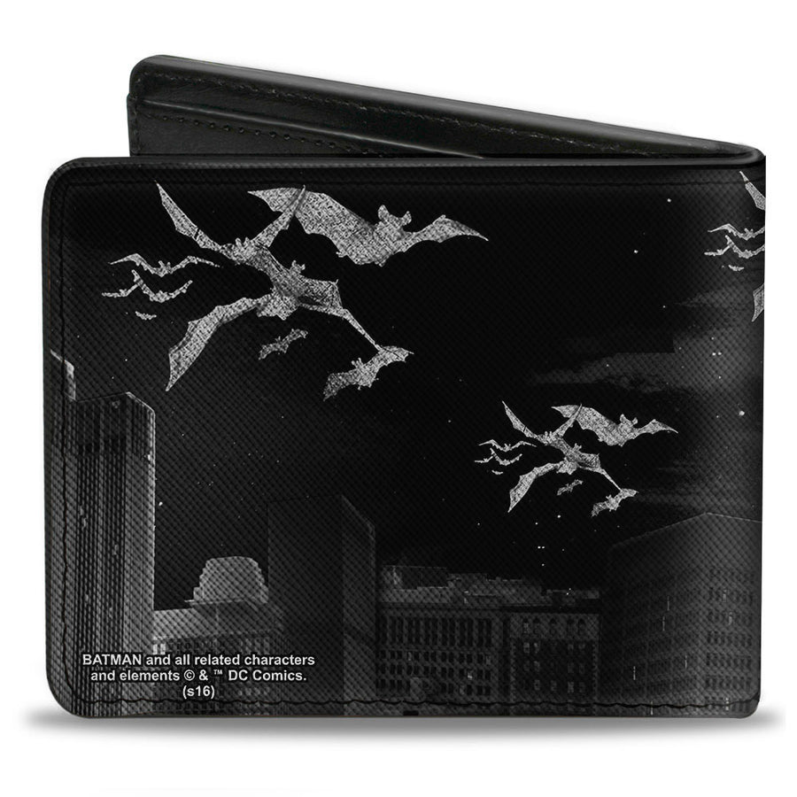 Bi-Fold Wallet - Batman Beauty of Flight Action Pose Bats Skyline Black Grays