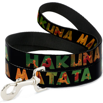 Dog Leash - HAKUNA MATATA Black/Lion King Scenes