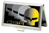 Business Card Holder - SMALL - C6 Racing w Skull Repeat FCG Black Yellow Silver