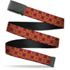 Black Buckle Web Belt - Harry Potter Gryffindor Crest Plaid Reds/Gold Webbing