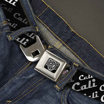 BD Wings Logo CLOSE-UP Full Color Black Silver Seatbelt Belt - CALI Fade Diagonal Black/Gray/White Webbing