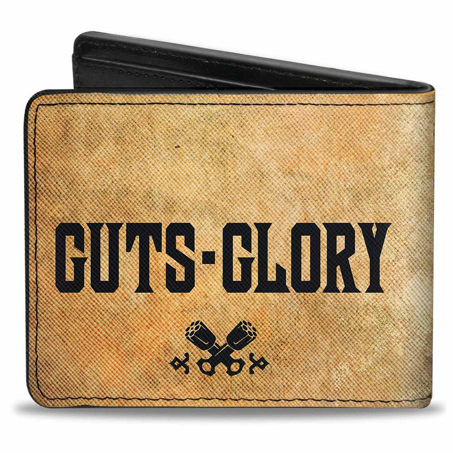 Bi-Fold Wallet - RAM Logo + GUTS-GLORY Pistons Weathered Black