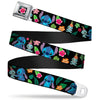 Lilo & Stitch Hibiscus Flower Full Color Black Pink Seatbelt Belt - Stitch & Scrump Poses/Tropical Flora Webbing