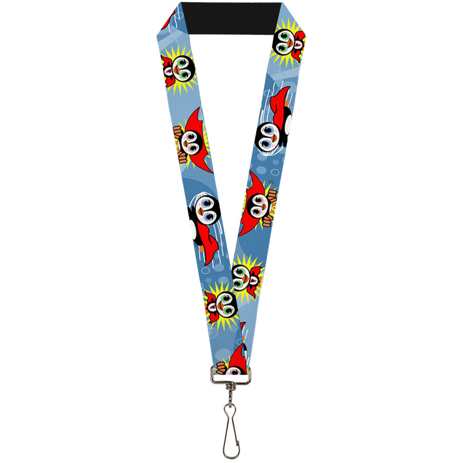 "Lanyard - 1.0"" - Penguin Superhero Blue Bubbles"
