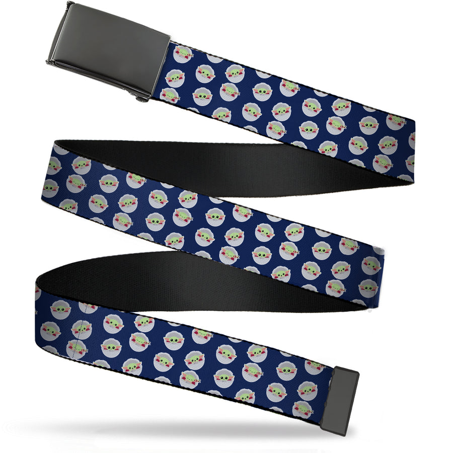 Black Buckle Web Belt - Star Wars The Child Chibi Pod Poses Scattered Navy Webbing