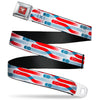 Cars 3 Piston Cup Champion Icon Full Color Red Black White Seatbelt Belt - Cars 3 Cars Crossing White/Blues/Reds Webbing
