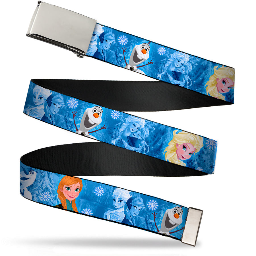Chrome Buckle Web Belt - Frozen Character Poses Blues Webbing