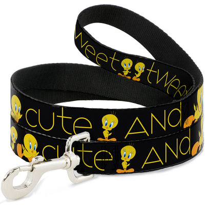 Dog Leash - Tweety Bird Poses CUTE AND SWEET Black/Yellow