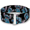 Cinch Waist Belt - Stitch Poses Hibiscus Sketch Black Gray Blue
