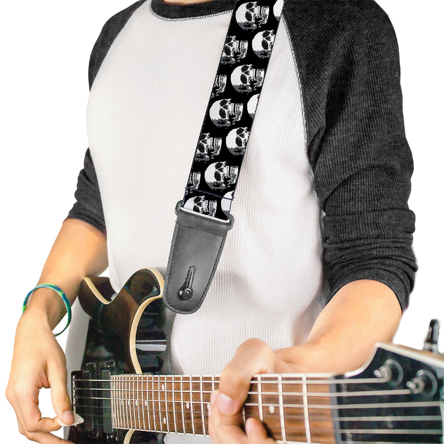 Guitar Strap - 3-D Skulls Repeat Black Grays White