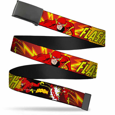 Black Buckle Web Belt - The Flash BOOM-KABOOM! Webbing
