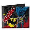 Canvas Bi-Fold Wallet - Batman Action Poses WHOOM! Gray Black Red
