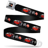 Cars 3 Race Flags Full Color Black White Red Seatbelt Belt - Cars 3 Lightning McQueen Caricature/Race Flags Black/White/Red Webbing