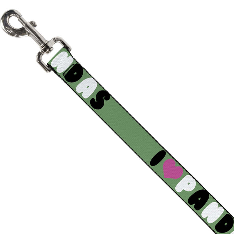 "Dog Leash - I ""Heart"" PANDAS Green/White/Black/Pink"